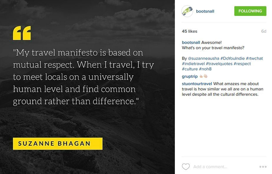 Quote from Suzanne Bhagan on Instagram by Bootsnall