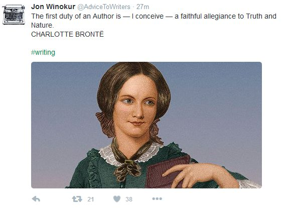 Charlotte Bronte Quote on Twitter from Jon Winokur