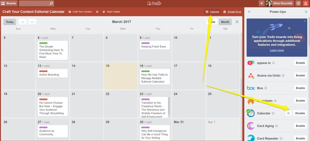 calendar power-up trello