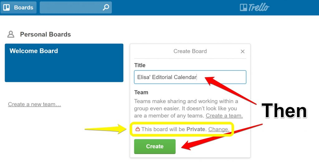 Adding new board to Trello