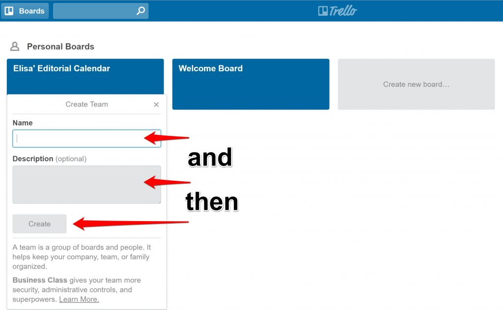 Trello Editorial Calendar new team