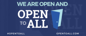 Blue banner with text We Are Open to All with an open door graphic, as part of #OpenToAll campaign